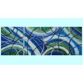 """Quadri Moderni Colorati """"Astratto libero in blu"""" Acrilico e colori all'acqua su tele. Il progetto del quadro studiato per le testate del letto come sopra i divani o mobili moderni, si immerge in una carrellata di blu e verdi sfumati al bianco. Volute impreziosite da perline e graniglie si intersecano. Dim. 50x140"""