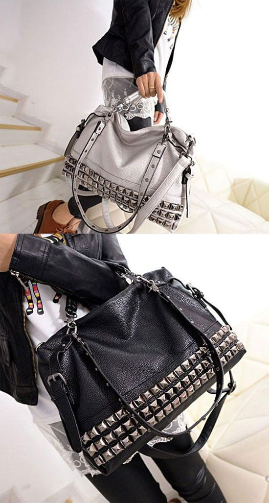 af114ca3a5 Unique Rivets Women Leather Shoulder Bag Punk Square Rivet Handbag  bag   Handbag  rivet  punk  designershoulderbags