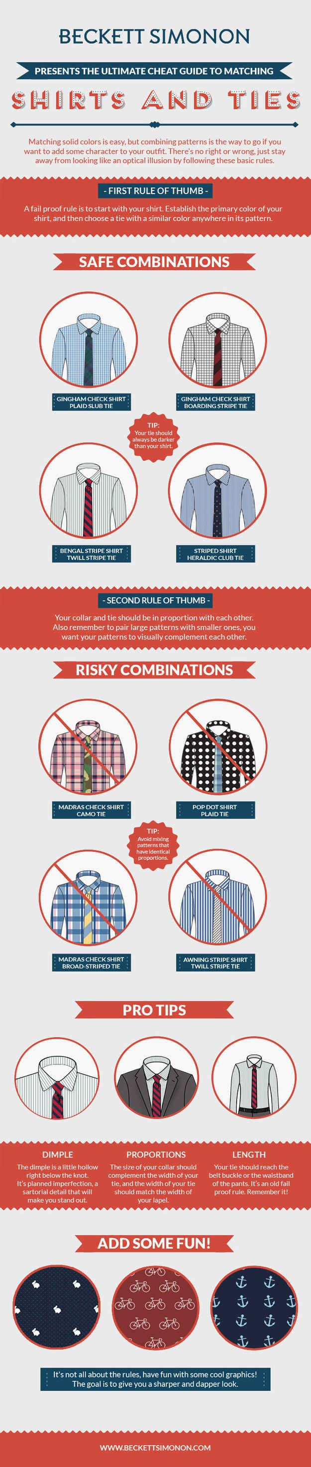 Before you throw on that shirt with that tie, STOP! And take a look at these helpful color and pattern combos.