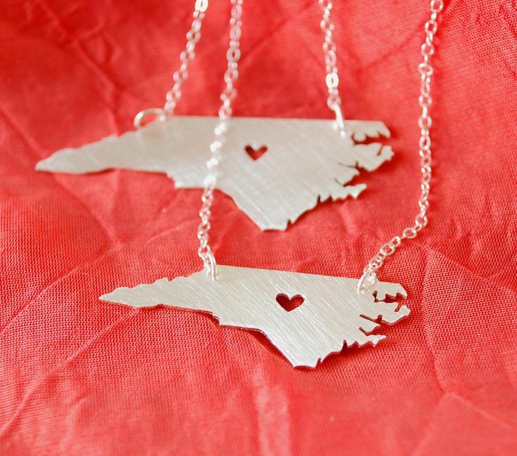 New- Petite North Carolina Necklace with Heart. $42.00, via Etsy.