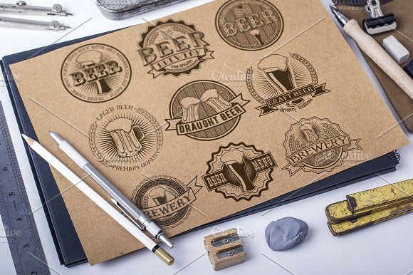 9 Vintage brewery beer logos by SiberianArt on @creativemarket