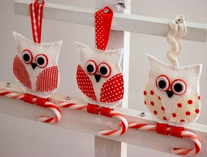 This is my collection of gorgeous wee christmas owls whose feet clasp onto a candy cane. A unique Mushymoo creative design spin on the very popular owl :) A lovely addition to any tree, mantel or attached to a present. Made with felt, fabric, buttons and ribbons with a little bit of stuffing i...