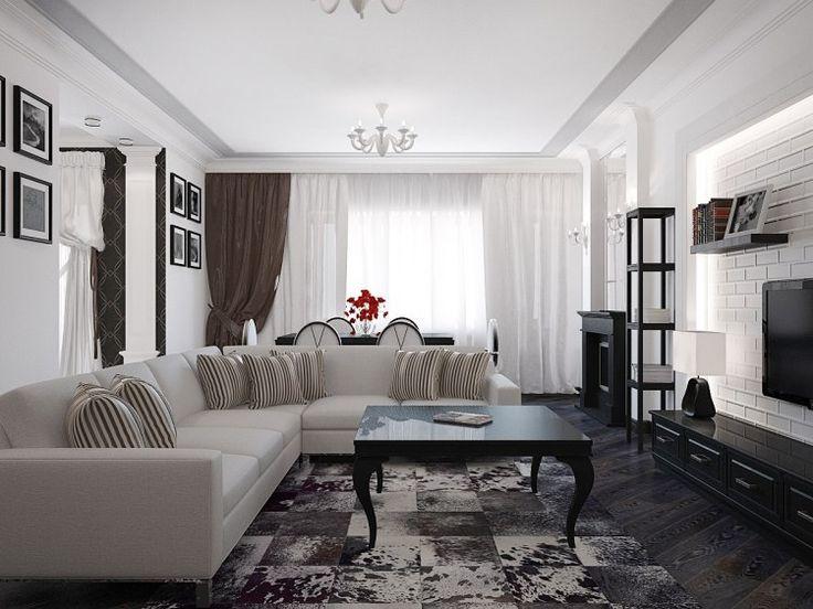 canapé d'angle en cuir blanc neige, table basse noir laqué et tapis design assorti