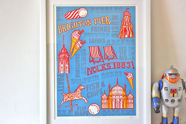 Brighton Seaside - Muted Blue - limited edition wall art vintage shabby chic £30.00