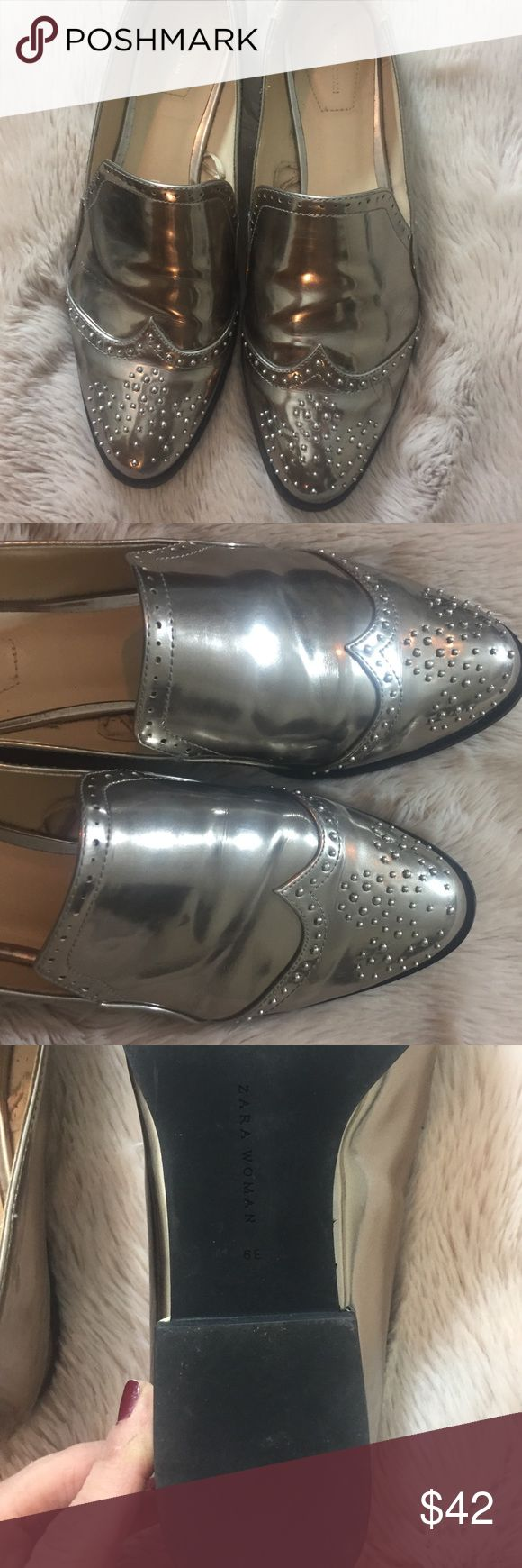 Zara women's silver Oxford shoe Funky silver Oxford shoe by Zara. Definitely a show stopper addition to any outfit! Worn once. I'm usually an 8 and these fit- I find Zara runs just a touch small in shoes. Zara Shoes Flats & Loafers