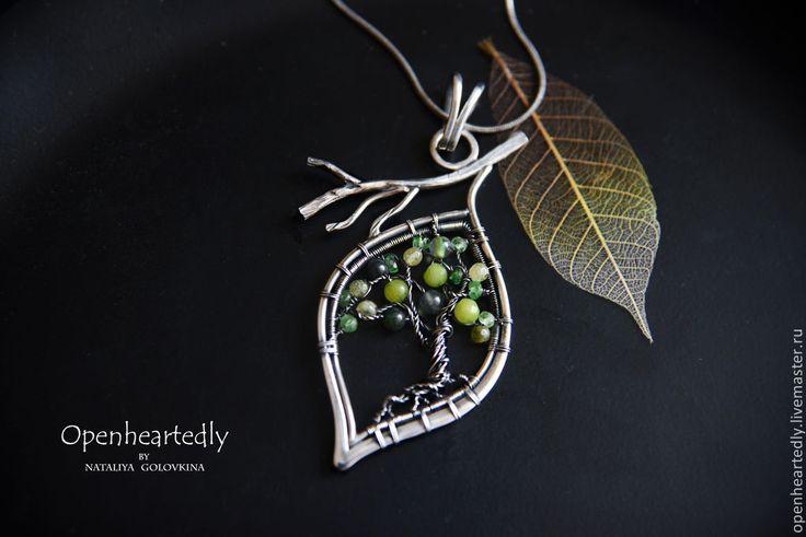 """Серебряный кулон """"Древо"""" - зелёный,древо жизни,дерево,зелень,природа,природный стиль"""
