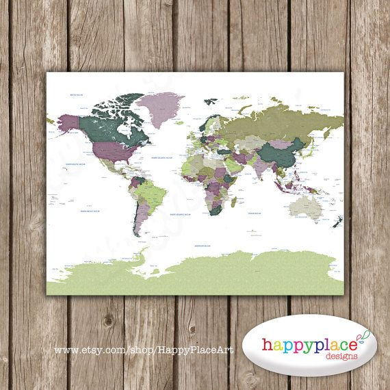 Detailed World map with cities and states labelled. World map print with city names and state names added. Neutral colors. Push pin map idea