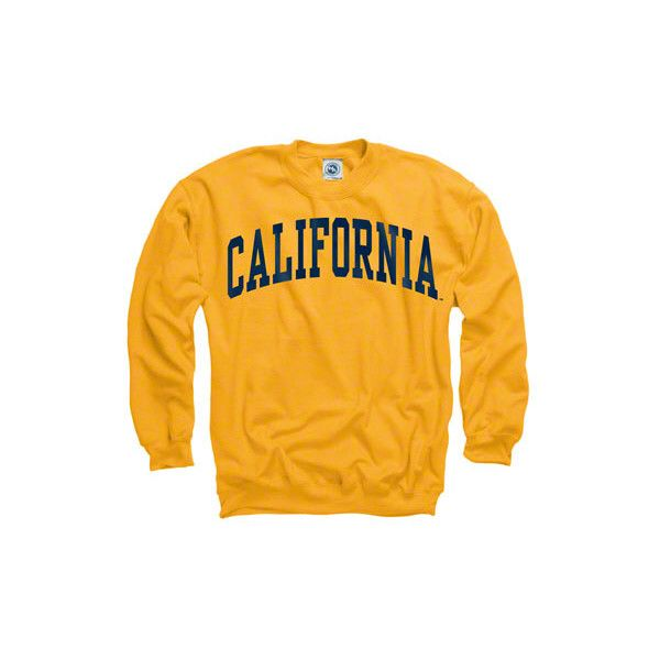 California Bears Gold Arch Crewneck Sweatshirt ($28) ❤ liked on Polyvore featuring tops, hoodies, sweatshirts, shirts, sweaters, crew neck sweatshirts, bear shirt, crew neck shirt, crew top and crew shirt