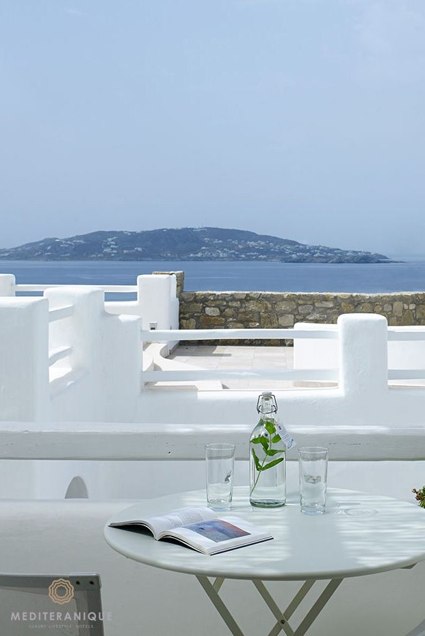 Luxury Greek style: terrace views from the Rocabella Mykonos Hotel #Greece #traveltoGreece #Greekislands