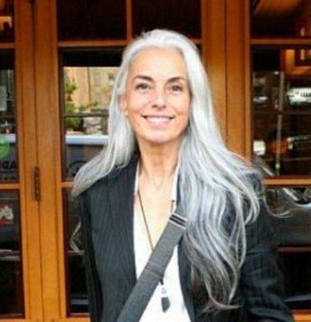 gorgeous long silver hair