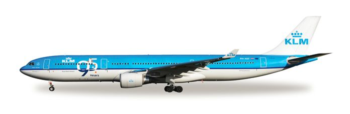"""1/500 Herpa KLM Royal Dutch Airlines """"95 Years"""" Airbus A330-300 Diecast Model"""