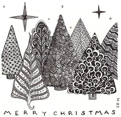 Christmas tree Zentangles...do a huge variety then cut them out and off mount them  in long rectangle deep frame...hmmmm do i do them in shades of green?  card stock for sure....glitter sno OH MAN