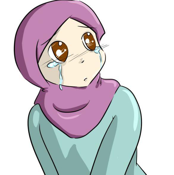 Gambar Kartun Muslimah Sedih Menangis Png 585 215 587 Anime Pinterest
