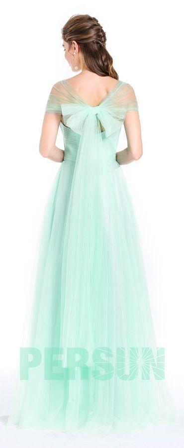 78,59 € Robe princesse longue de soirée verte pastel dos au noeud papillon