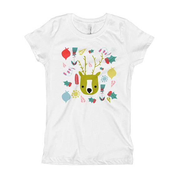 Cute Holiday Reindeer Girl's T-Shirt   Christmas Kids_ bruxamagica Etsy Shop