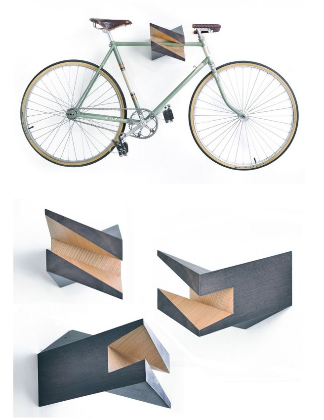 The Iceberg wood bike hanger is an eye-catching solution to urban bike storage.    This limited edition hanger is made from oak wood stub cross cut, birch, and oak plates. It comes with an easy to use mount system that can be installed by 3 standard screws on plasterboards, wood and concrete walls, and all other typical walls. By Woodstick Ltd