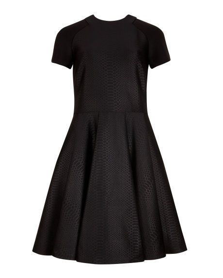 Embossed neoprene dress - Black | Dresses | Ted Baker