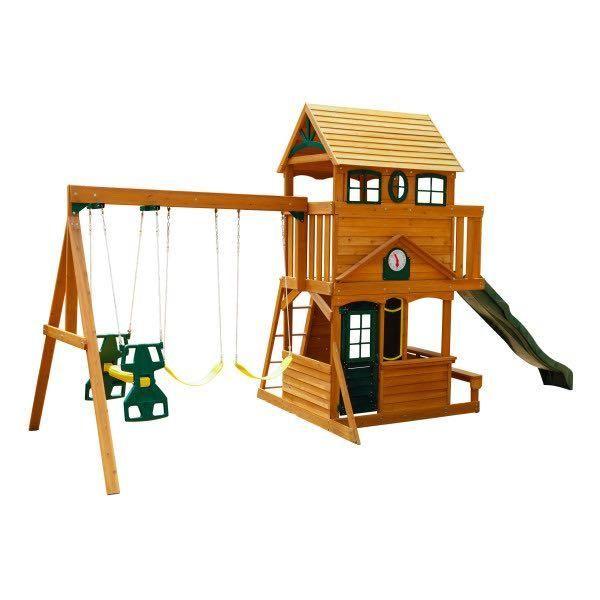 Kidkraft Ashberry Wooden Playset Playsets Kidkraft Outdoorplay Kidkraftplayset Playhouse Woodenplayset K Outdoor Wooden Swing Wooden Swing Set Swing Set