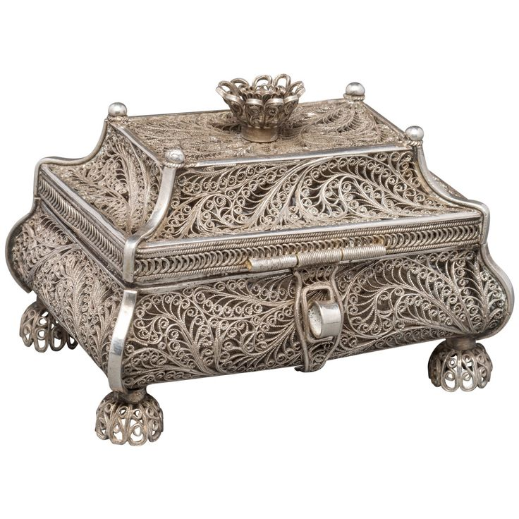 1858 Russian Silver Filigree Box | From a unique collection of vintage boxes and cases at https://www.1stdibs.com/jewelry/objets-dart-vertu/boxes-cases/
