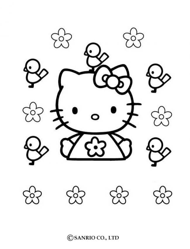 Hello Kitty And Birds Coloring Page Hello Kitty Coloring Hello Kitty Colouring Pages Kitty Coloring