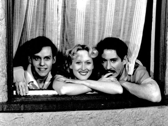 """With co-stars Kevin Kline and Peter MacNicol, """"Sophie's Choice"""" (1982)"""