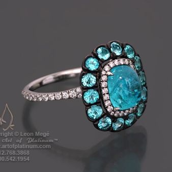 Paraiba Tourmaline and Diamond Ring by Leon Mege