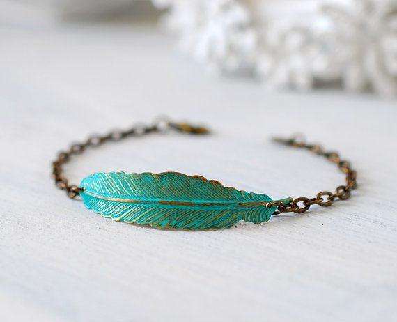 Feather Bracelet, Patina Verdigris Brass Blue Feather Bracelet, Boho Chic Bohemian Bracelet, Feather Jewelry, Gift for Her, Christmas Gift