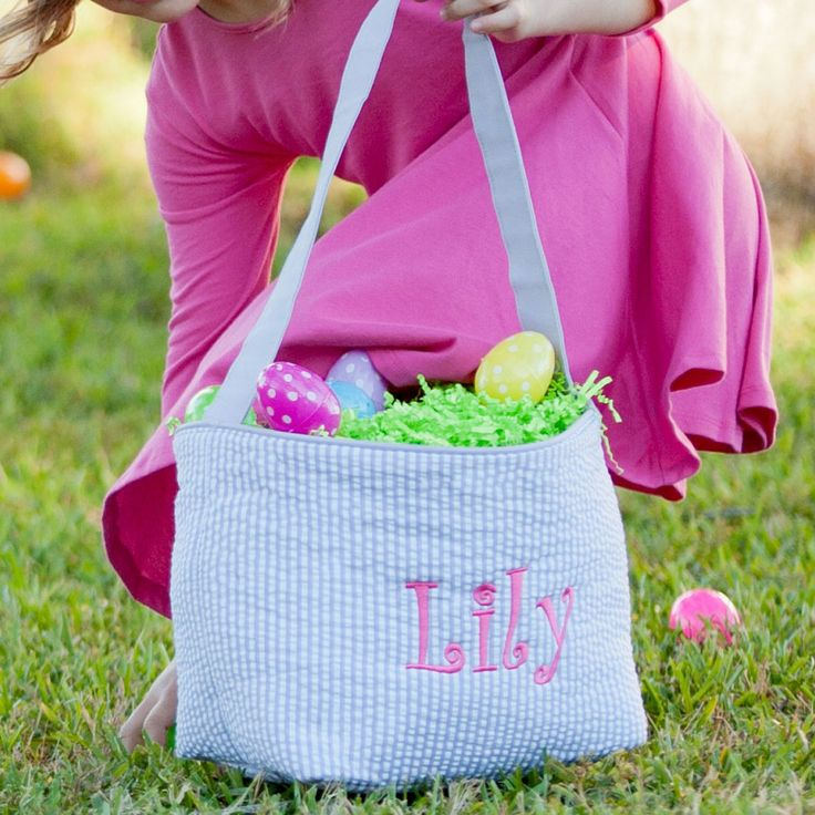 Best 25 monogrammed easter baskets ideas on pinterest monogrammed seersucker easter basket for boys personalized easter baskets for kids negle Image collections