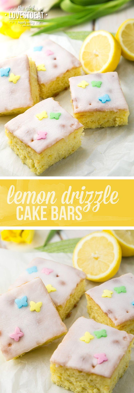 Lemon drizzle cake bars  { thegirllovestoeat.com }