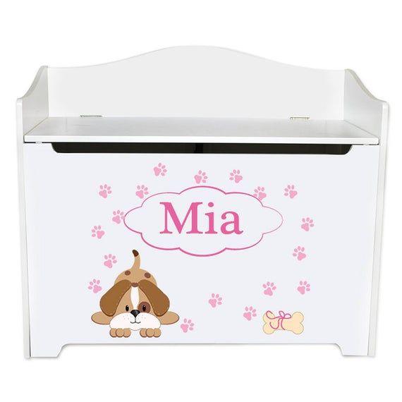 Personalized Pink Puppy Dog Toy Box Bench Custom Girls Toybox Toys