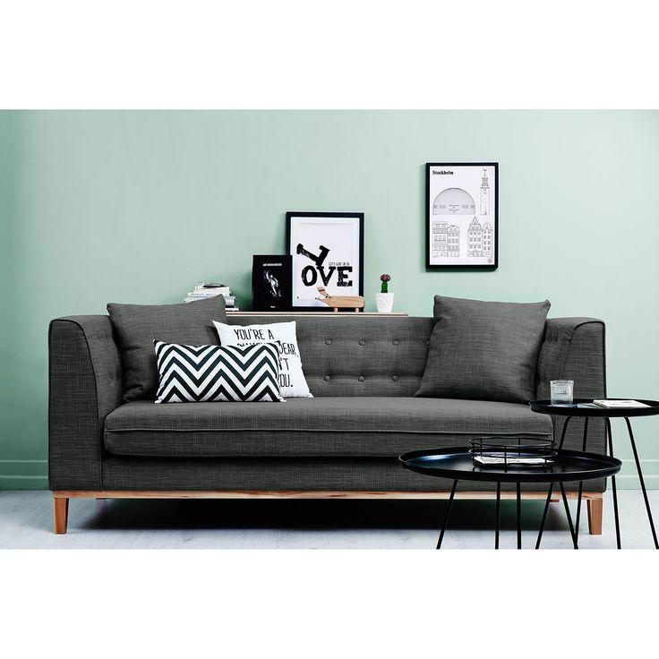 canap lenja 3 places tissu beige anthracite canap mobilier de salon beige et. Black Bedroom Furniture Sets. Home Design Ideas