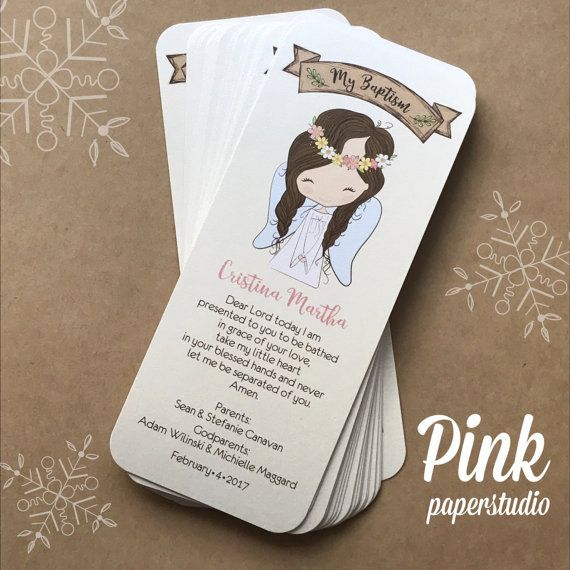 Baptism Favor Cards Bookmark Baptism Angel Girl