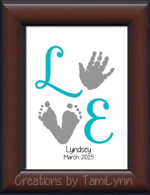 Baby Girl LOVE Footprint & Handprint by CreationsbyTamiLynn