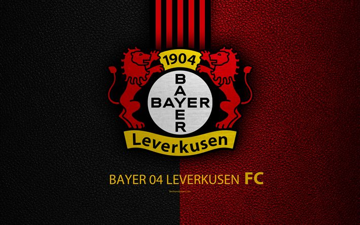 Download wallpapers Bayer 04 Leverkusen FC, 4k, German football club, Bundesliga, leather texture, emblem, logo, Leverkusen, Germany, German Football Championships