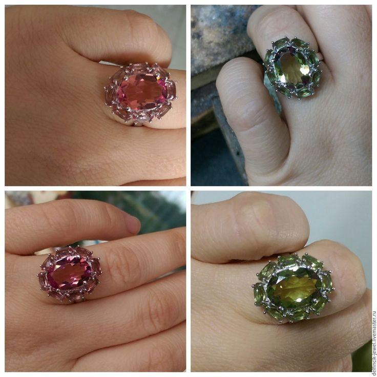 Купить Перстень с султанитом Принцесса - разноцветный, султанит, диаспор, камень-хамелеон, кольцо с султанитом