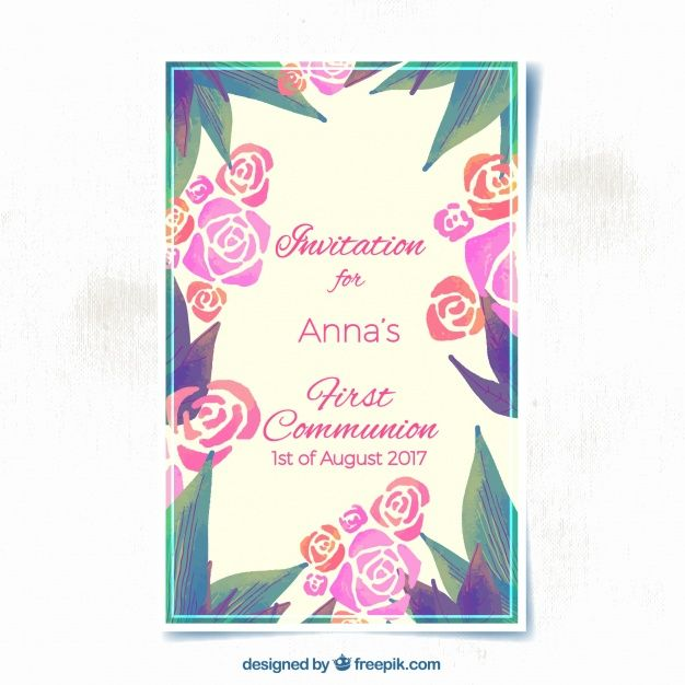 Invitación florida de acuarela de primera comunión   Vector Gratis