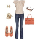 """Love me some coral. All the outfits by """"mamafolie"""" on this site are so cute."""