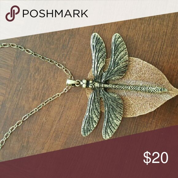 Dragonfly necklace Hand crafted Dragonfly on a gold silver plated leaf. Jewelry Necklaces