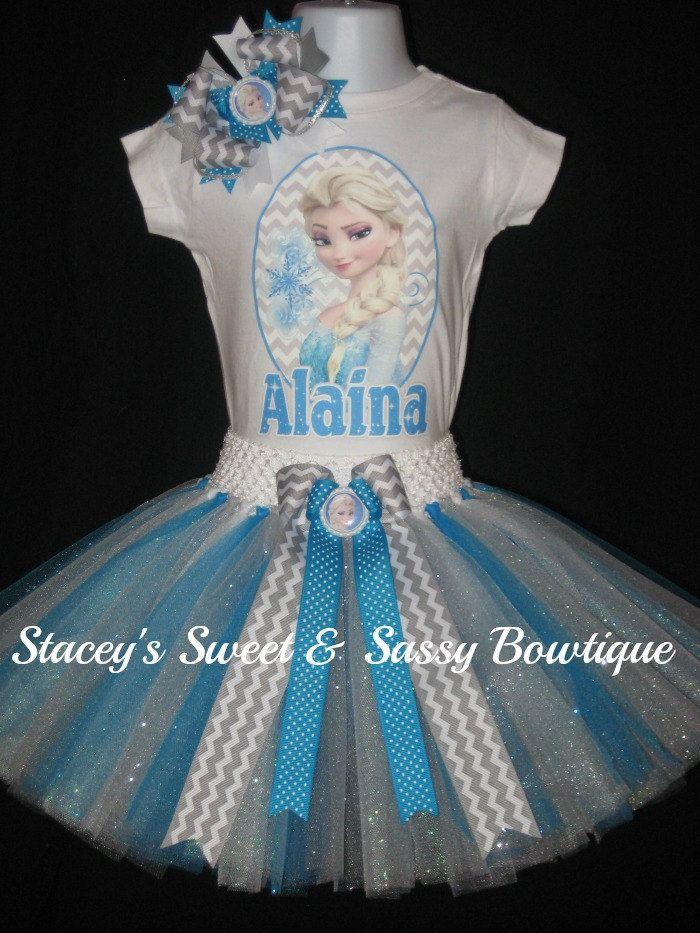 Frozen Elsa Tutu Set by StaceysSNSBowtique on Etsy https://www.etsy.com/listing/190046646/frozen-elsa-tutu-set