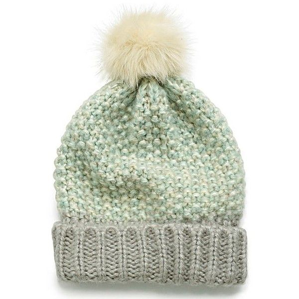 Popcorn Knit Bobble Hat ($15) ❤ liked on Polyvore featuring accessories, hats, gray hat, bobble hat, grey hat, gray knit hat and knit hats