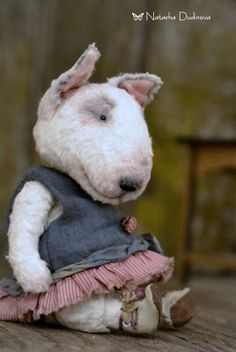 I can't believe how cute this is!  Felted bull terrier!