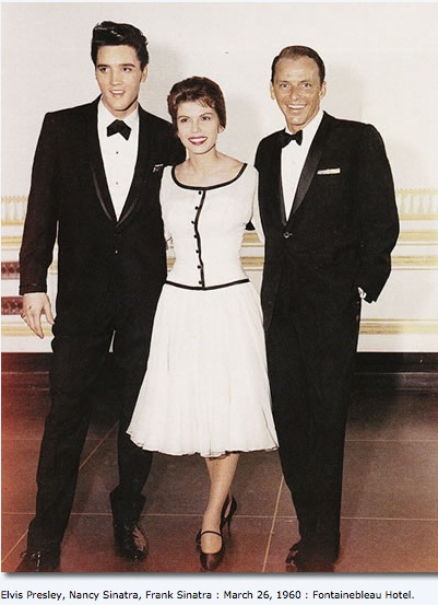Elvis Presley with Nancy and Frank Sinatra. March 26, 1960. Fontainebleau Hotel.
