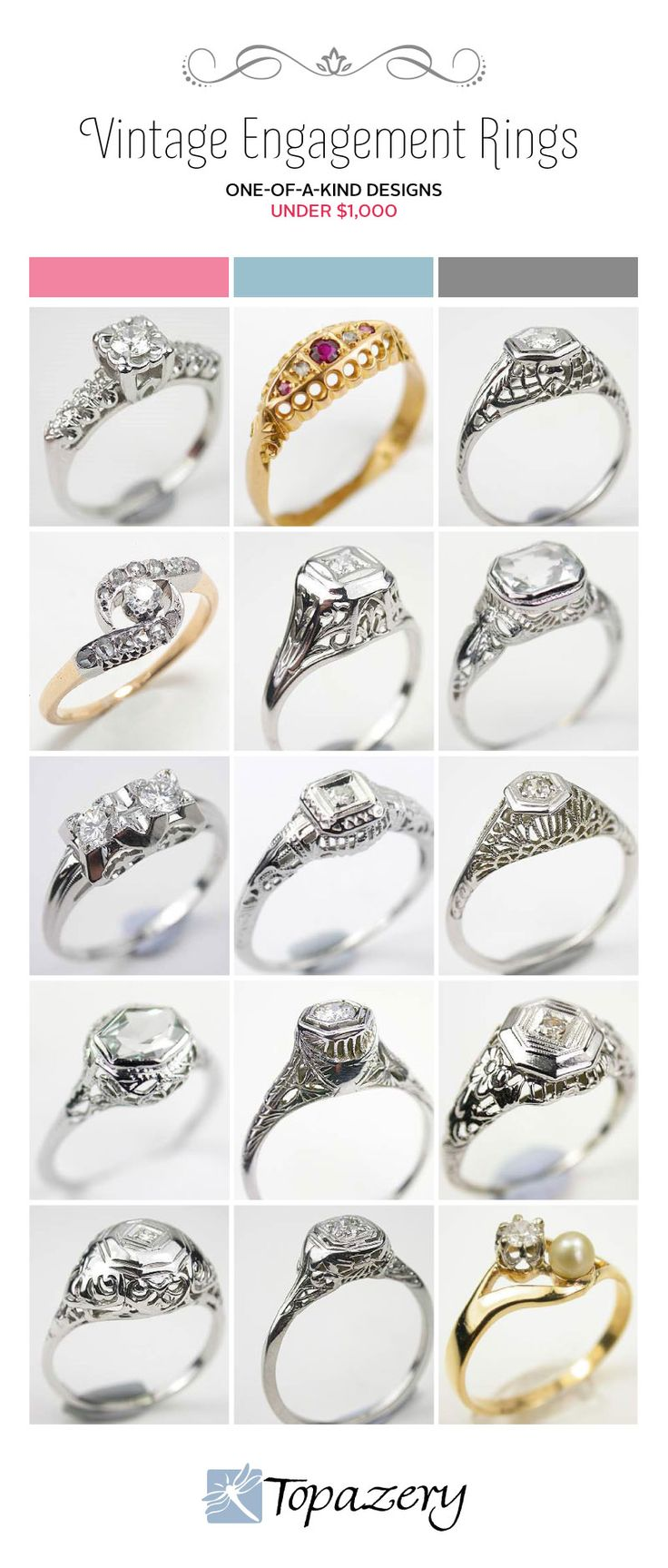 Vintage Engagement Rings on a Budget   Topazery #wedding #Engagement #Rings http://www.topazery.com/antique-jewelry-blog-entry/Vintage-Engagement-Rings-on-a-Budget
