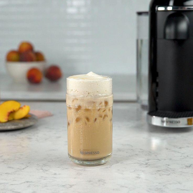Iced coffee season just got peachy. Introducing our newest summer concoction. - 1 oz. peach syrup - 1 tsp. honey - 2 espressos - Ice - 4-6 oz. milk - Shake