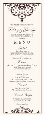 Wedding Menu Cards-Vintage Monogram Menu Cards-Special Event Menu Cards-Wedding Reception Menu Cards-Menus-Monogram Menu Cards-Custom Menu Design