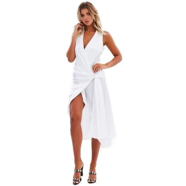 Beautiful turn down collar form fitting midi dress. V Neck vestidos with  sexy high side split. 4dcb30ce4