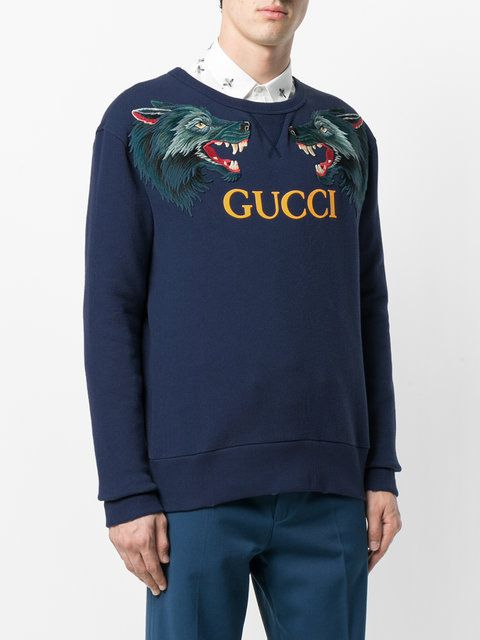 a6521c33b26 Gucci Wolf Head Appliqué Sweatshirt - Farfetch Gucci Sweatshirt, Graphic  Sweatshirt, Mens Sweatshirts,