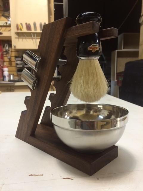 Walnut shaving brush/razor stand - Imgur