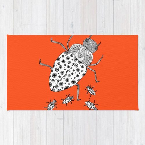 Orange Bugs Rug Orange Rug Kids Bath Mat by LushTartArtProject