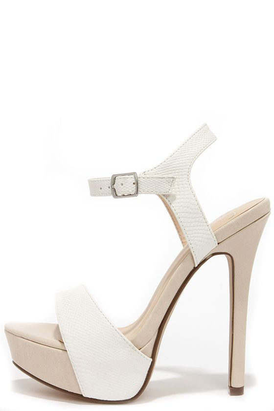 Basking Nicely White and Beige Lizard Platform Heels